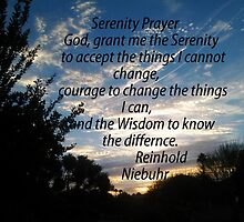 SERENITY PRAYER, USING PALM DESERT SURNRISE AS BACKDROP  by JAYMILO