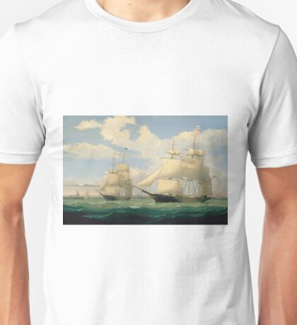 Fitz Henry Lane - The Ships Winged Arrow And Southern Cross In Boston Harbor 1853 Unisex T-Shirt