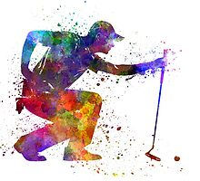 man golfer crouching  silhouette by paulrommer