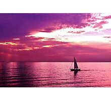 Sailing Into The Setting Sun Photographic Print