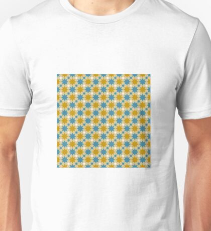 cream background golden blue white stars pattern Unisex T-Shirt
