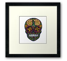 Winter Skull Holly king- Purple Framed Print