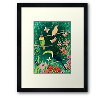 TROPICAL BIRDS (and flowers, and bugs and butterflies) Framed Print