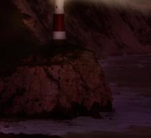 Lighthouse at night Sticker