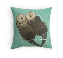 Significant Otters - Otters Holding Hands Throw Pillow