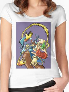 Street Fighter - Cammy and Chun Li Women's Fitted Scoop T-Shirt