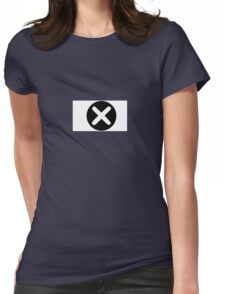 Cross in Circle , White Womens Fitted T-Shirt
