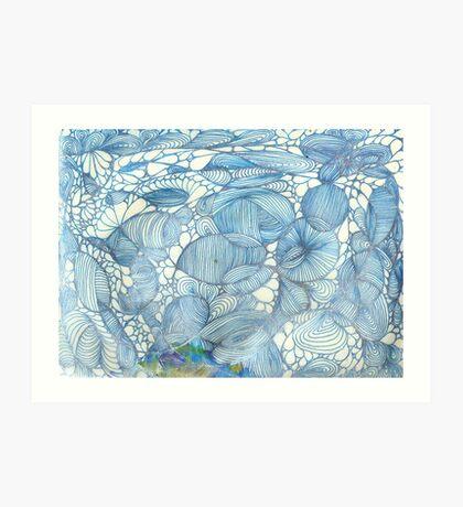 Blue Lines Do Over Art Print