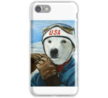 Winter Olympic Skier - Polar Bear animal art iPhone Case/Skin