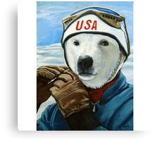 Winter Olympic Skier - Polar Bear animal art Canvas Print
