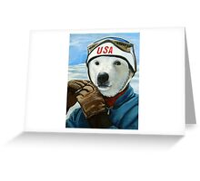 Winter Olympic Skier - Polar Bear animal art Greeting Card