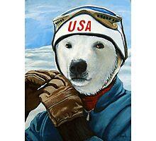 Winter Olympic Skier - Polar Bear animal art Photographic Print