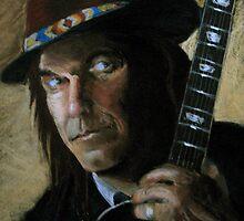 Neil Young Portrait in Pastels by Jeremy Lebediker