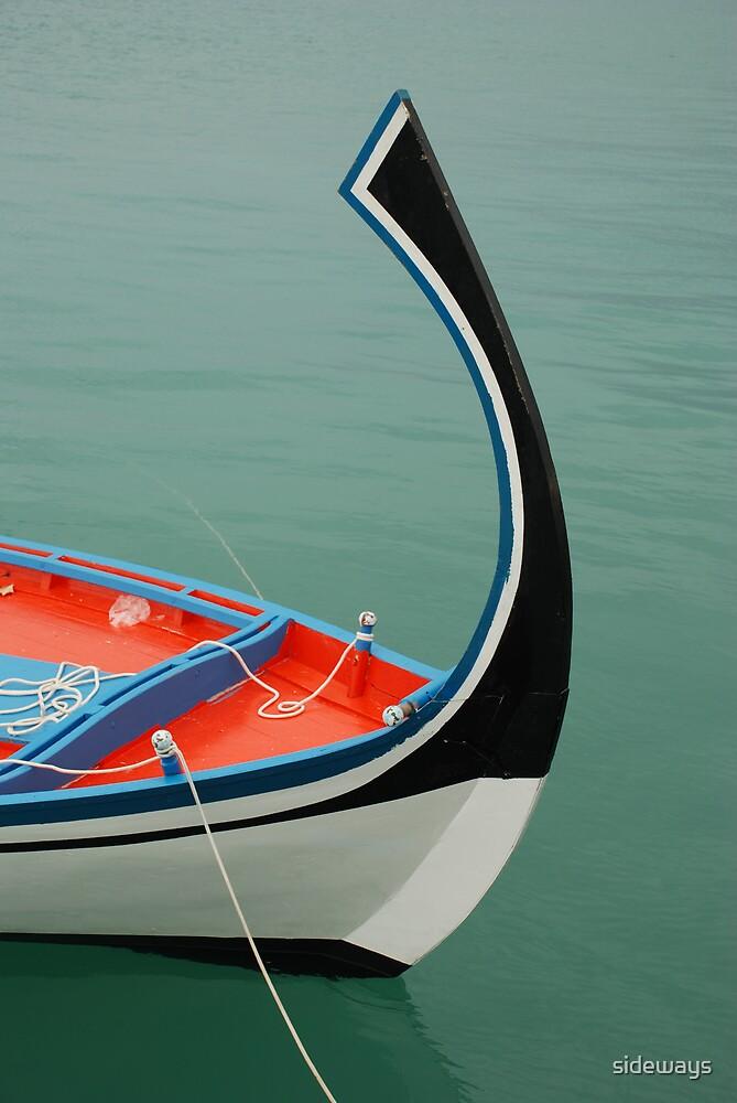 Traditional Maldivian Fishing Boat by sideways