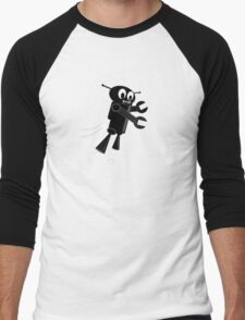 Black Flying Robot Men's Baseball ¾ T-Shirt