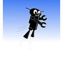 Black Flying Robot Photographic Print