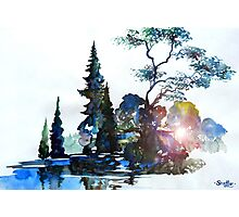 Watercolor Forest and Pond Photographic Print