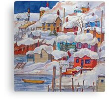 Snow on the Rock or Winter in St. John's (Newfoundland) Canvas Print