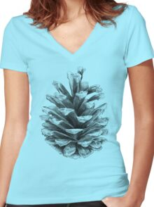 Pine Cone Women's Fitted V-Neck T-Shirt