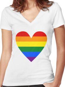 LGBT heart Women's Fitted V-Neck T-Shirt