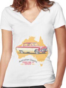 Ford Mark 2 Zephyr-Classic Australian Cars Women's Fitted V-Neck T-Shirt