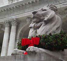 Lion Sculpture, Holiday Decorations, New York Public Library, New York City by lenspiro