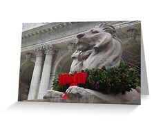 Lion Sculpture, Holiday Decorations, New York Public Library, New York City Greeting Card