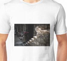 White Cat sitting on Steps Unisex T-Shirt