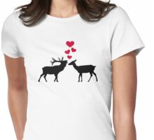 Deer love red hearts Womens Fitted T-Shirt