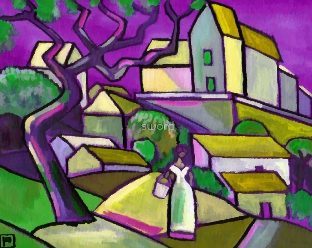 South of france (from my original acrylic painting digitally enhanced) by sword