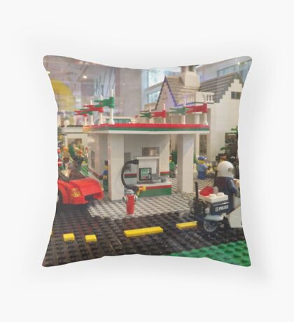 Lego Gas Station, FAO Schwarz Toystore, New York City Throw Pillow