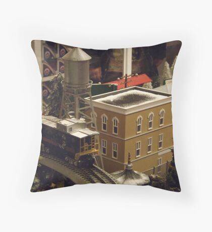 Lionel Model Trains, Model Village, FAO Schwarz Toystore, New York City Throw Pillow