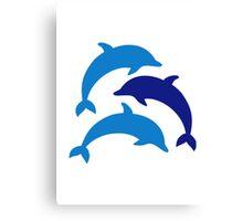 Blue Dolphins Canvas Print