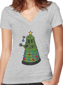 A Dalek Christmas Women's Fitted V-Neck T-Shirt