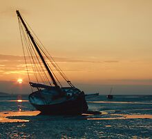 Sunset Boats 1 by Alan Hawkins