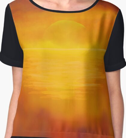 Painted Sunset over the still ocean Chiffon Top