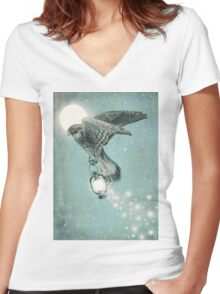 Nighthawk (portrait format) Women's Fitted V-Neck T-Shirt