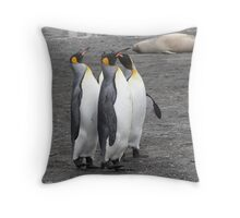 "King Penguins ~ ""The Line Dancers"" Throw Pillow"