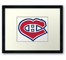 Habs in my Heart Large logo Framed Print