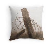 post with barbed wire Throw Pillow