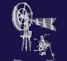 1889 Aldrich Windmill Patent Art by Barry  Jones