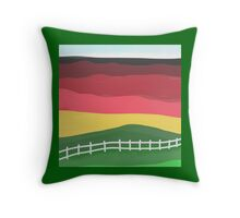 Landscape pillow, abstract red, green, gold Throw Pillow