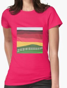 Landscape pillow, abstract red, green, gold Womens Fitted T-Shirt