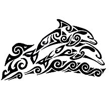 Dolphin Tribal Tattoo Photographic Print