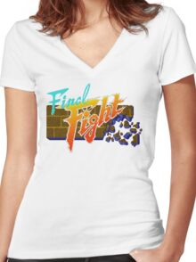 Final Fight (SNES) Title Screen Women's Fitted V-Neck T-Shirt