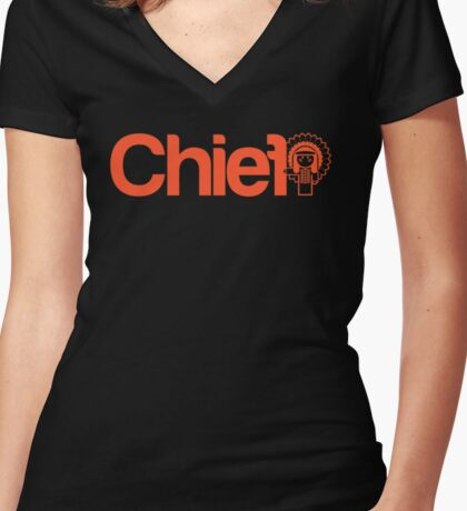 Project Chief - Neon-O  Women's Fitted V-Neck T-Shirt