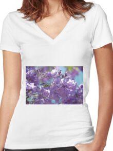 Spring Jacaranda Blossoms Women's Fitted V-Neck T-Shirt