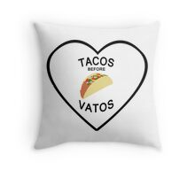 TACOS BEFORE VATOS Throw Pillow