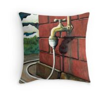 the leaking tap Throw Pillow