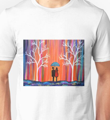 Colors Of Love Romantic Colorful Rainy Painting Unisex T-Shirt